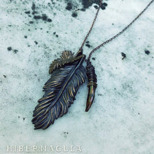 Load image into Gallery viewer, Wind Rider - Bronze Feather & Baroque Pearl Necklace | Hibernacula