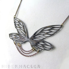 Load image into Gallery viewer, Gossamer -- Faery Wing Necklace in Bronze or Silver | Hibernacula