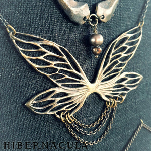 Gossamer -- Faery Wing Necklace in Bronze or Silver | Hibernacula