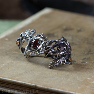 Mandragora -- Wrap Ring in Bronze or Silver / 7 Stone Choices | Hibernacula