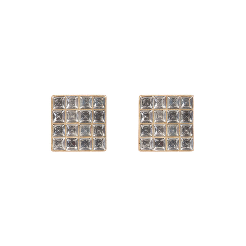 Diamante Square Stud Earrings