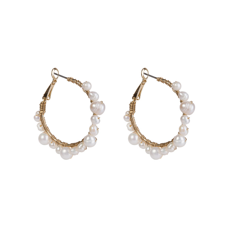 Wrapped Pearl Hoop Earrings