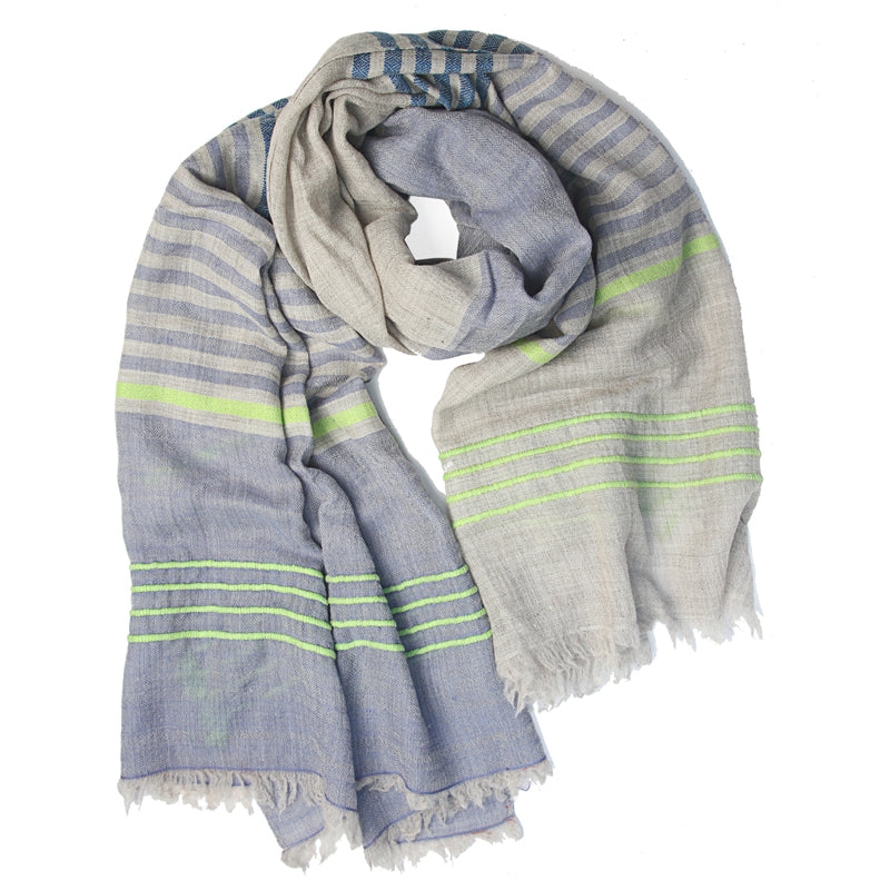 Pale Blue Striped Wool Scarf