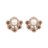 Peach Swarovski Fan Earrings