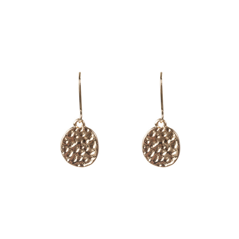 Hammered Drop Earrings in Gold