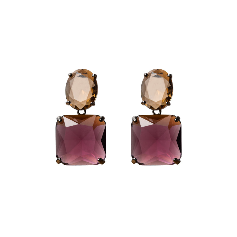 Topaz Cut Glass Earrings