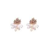 Studded Leaf Swarovski Crystal Earrings