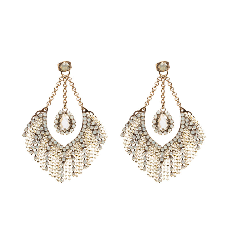 Fringed Chain Swarovski Earrings
