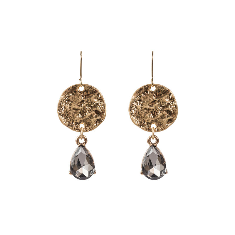 Hammered Crystal Drop Earring