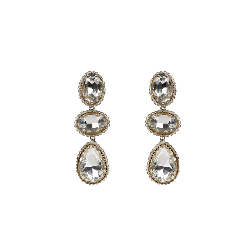 Deepa Gurnani Trio Gem Earrings