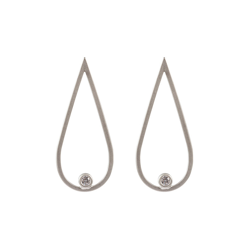 Matted Gunmetal Tear Drop Earring