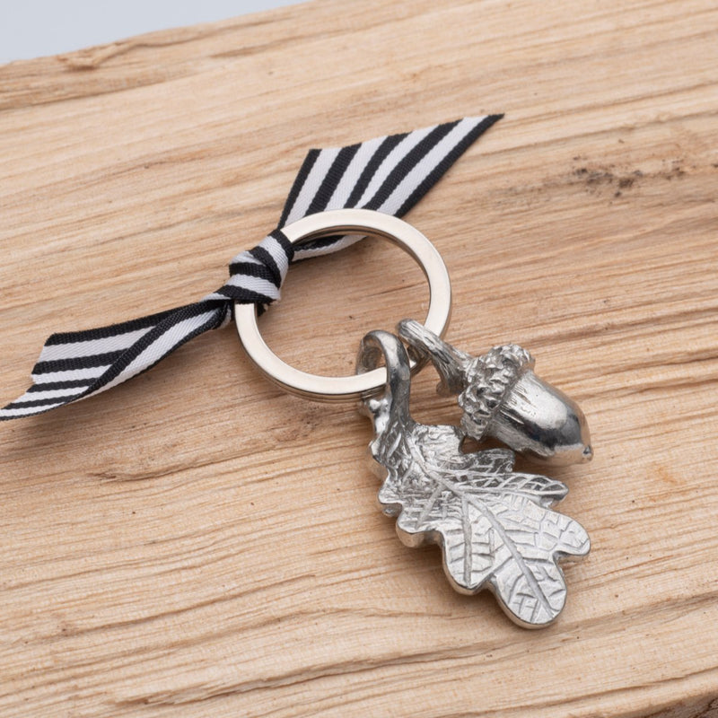 Acorn Keyring - Stripe Ribbon