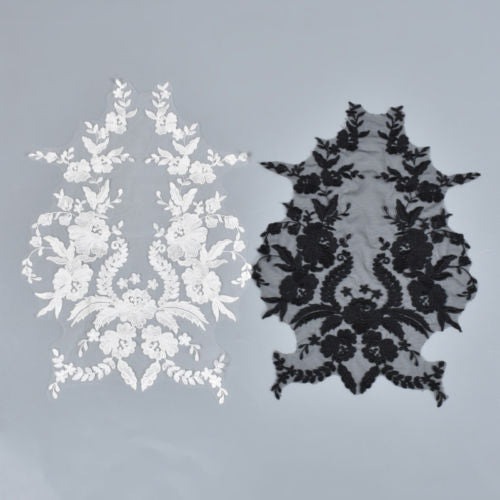 1 Pc Lace Flower Patches Applique Bridal Dress Embroidery Trim Sewing DIY Craft