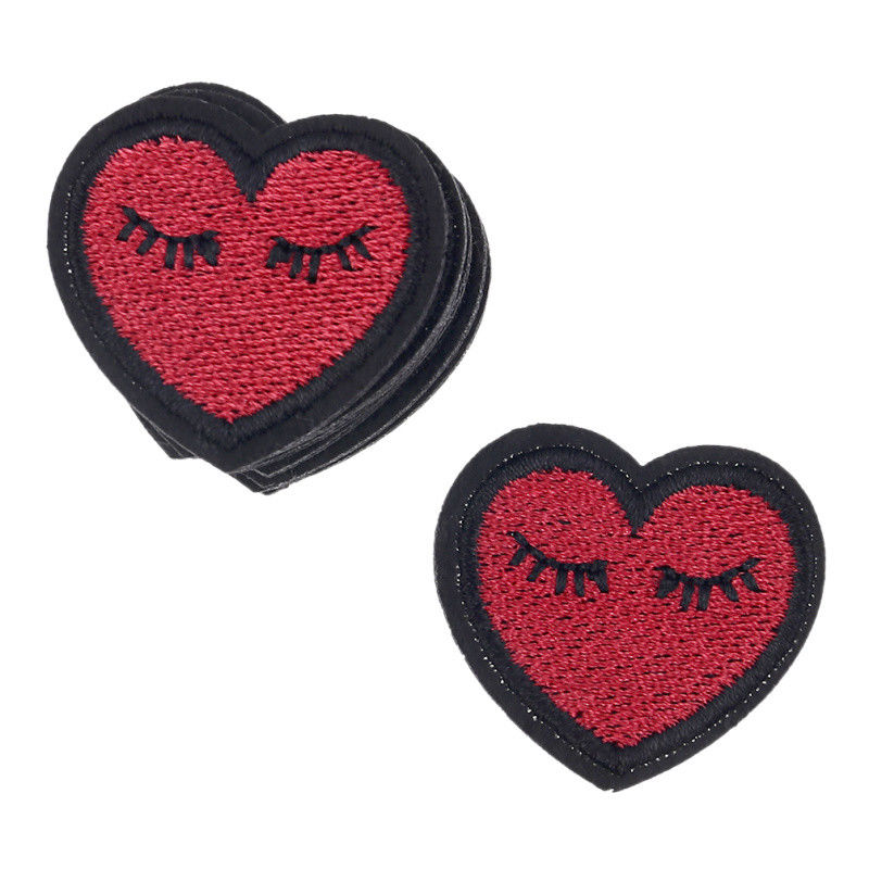 Red Heart Eyelashes Patches Iron On Badge Sewing Applique Fabric DIY ClothCraft