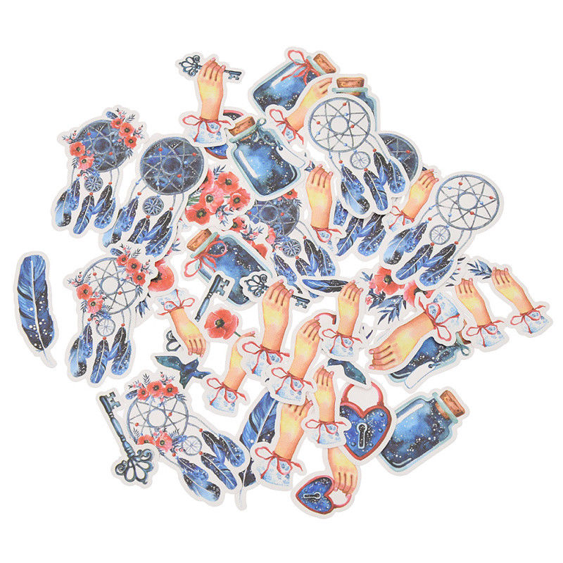 40pcs Cartoon Adhesive Stickers Scrapbooking Blue Dreamcatcher Tags Girls Diary