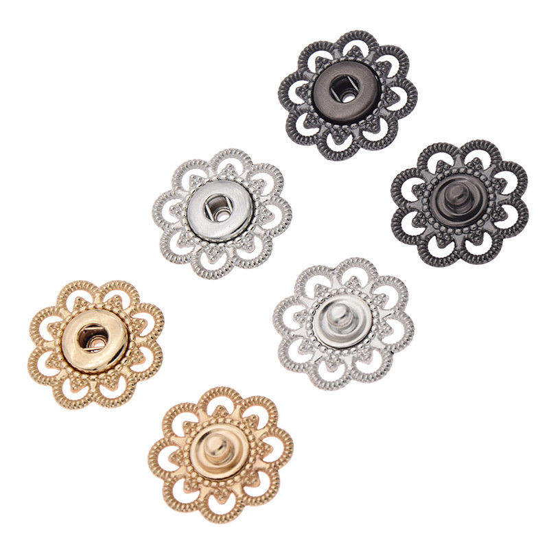 Meetee 10Pcs Metal Snap Hollow Flower Invisible Coat Buttons Garment  Accessories