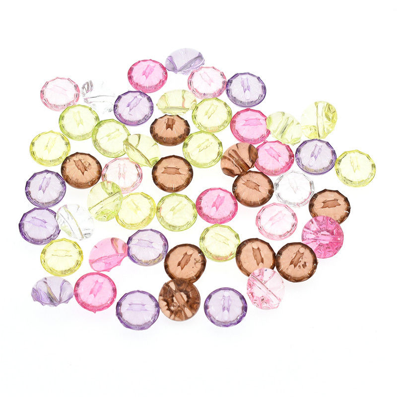 50 Pcs Clear Acrylic Multicolor Buttons DIY Sewing Clothes Tops Blouse Cardigan