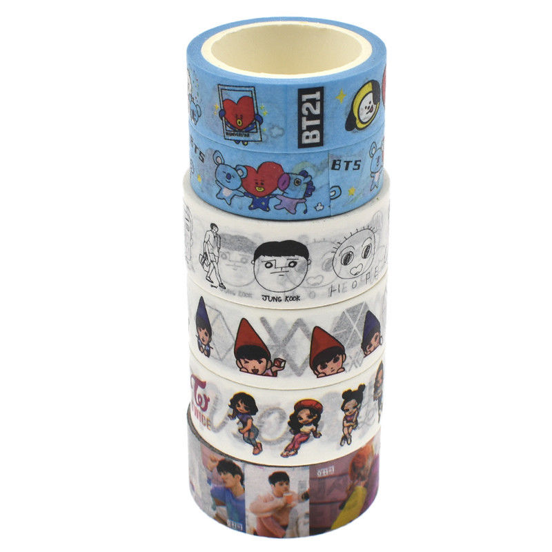 Kpop BTS Washi Tape DIY Masking Adhesives Sticker Crafts Scrapbooking 1 Roll