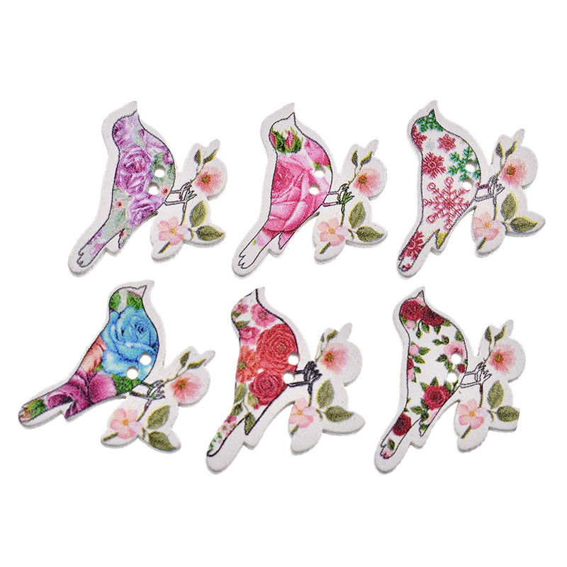 Mix Wooden Buttons Flower Bird Pattern Print DIY Sewing Scrapbooking Supplies