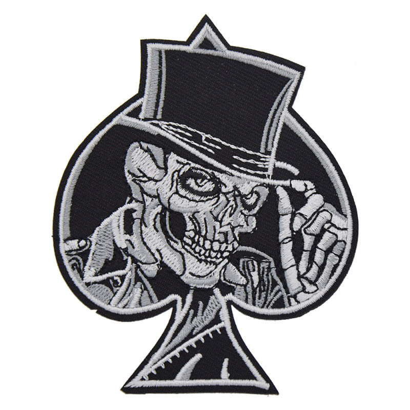 Punk Rock Heart Skull Punk Ace of Spades Embroidered Iron On Patch Badge DIY Sew