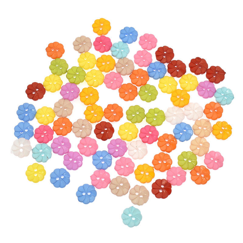 100 Pcs 13mm Mixed Color Flower 2 Holes Acrylic Buttons Handcraft For DIY Sewing