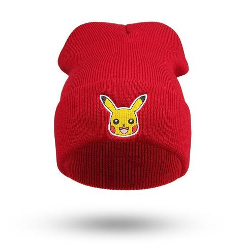 red Pokemon pikachu beanie front view