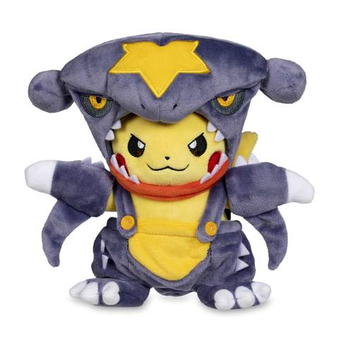Pokemon plush of Pikachu in Garchomp