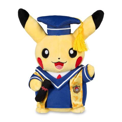 Pikachu graduation plush front view