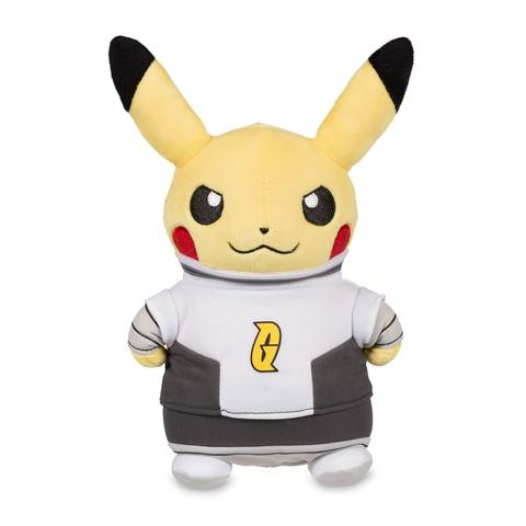 Pokemon plush of Pikachu Team Galactic on its front view