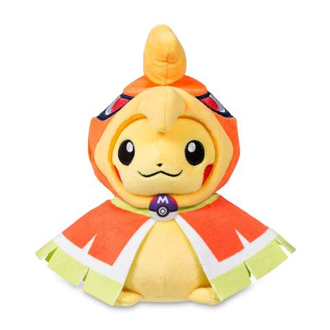 Pokemon plush of Pikachu in Ho-Oh front view