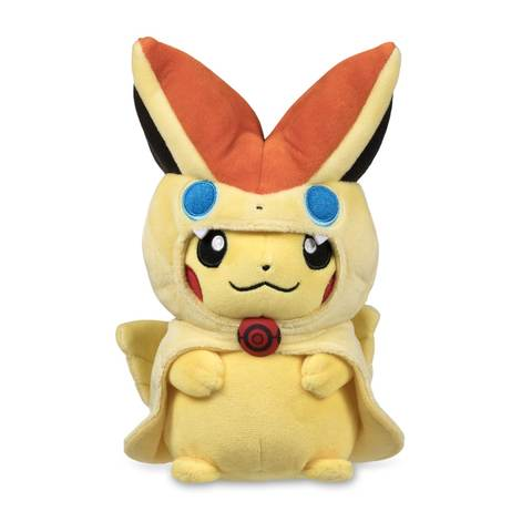 Victini pikachu plush with its hood on