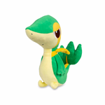Snivy pokemon plush on its side view