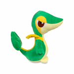 pokemon plush of snivy on its left side