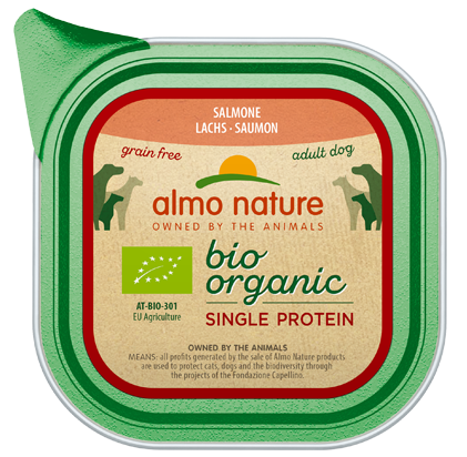 Almo Nature BIO organic Chiens Single Protein - barquette - saumon (150 gr)