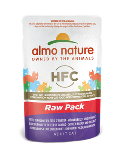 Almo Nature Raw Pack Chats - pochette - blanc de poulet et filet de canard (55 gr)