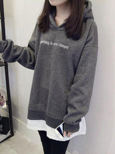 Mid-Length Double-Layer Patchwork Letter Hoodie Women's Autumn Tops