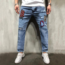 Load image into Gallery viewer, Fashion Decorative Patch Broken Holes Jeans