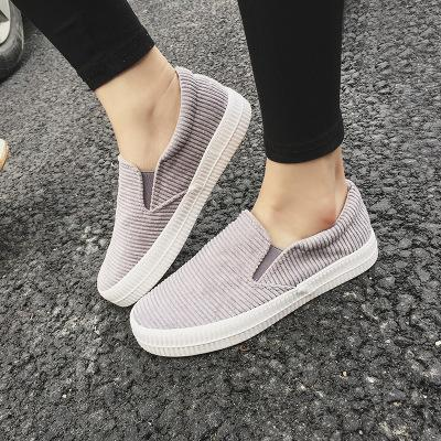 Women Corduroy Loafers Elastic Band Casual Slip-on Non-slip Shoes