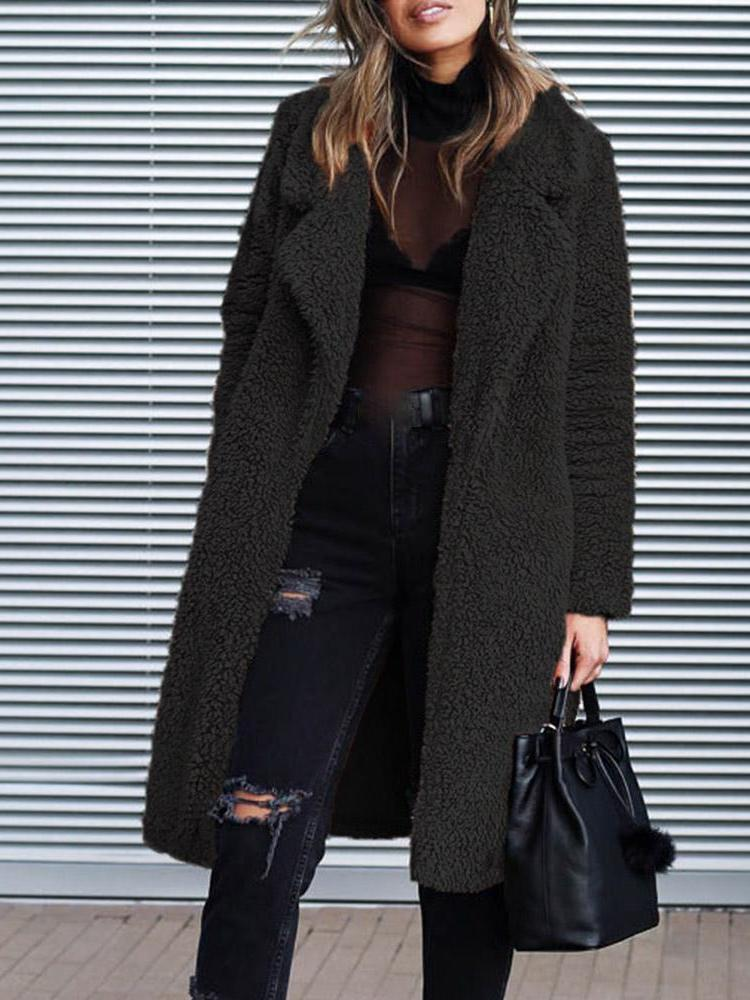 Loose Fit Long Sleeve Notched Lapel Women's Winter Overcoat
