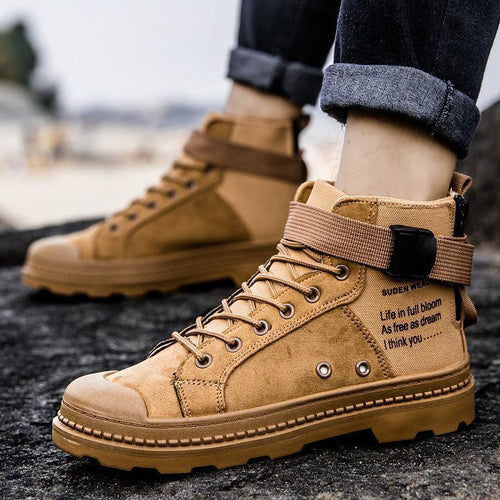 Casual Vintage Men High Top Letters Boots