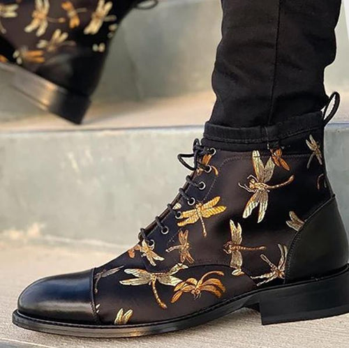 Men's Fashion Dragonfly Printed Lace-up Boots