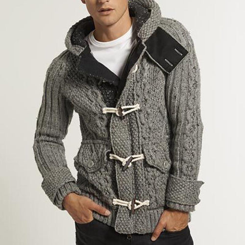 Men's Casual Long Sleeve Pure Color Hooded Knit Sweater