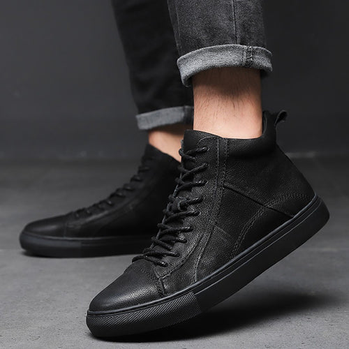 Men's Suede Leather Casual Straight Tube High Martin Boots