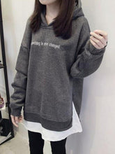 Load image into Gallery viewer, Mid-Length Double-Layer Patchwork Letter Hoodie Women's Autumn Tops