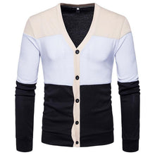 Load image into Gallery viewer, Men's Casual Colorblock Single Breasted Knit Cardigan