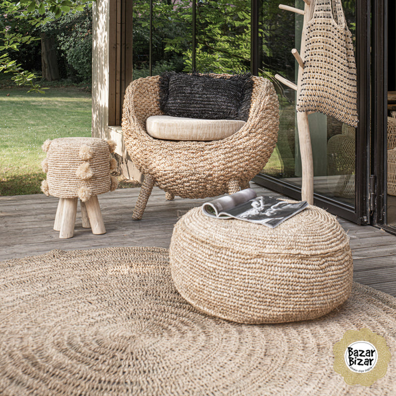 Bazar Bizar The Raffia Pompom Stool