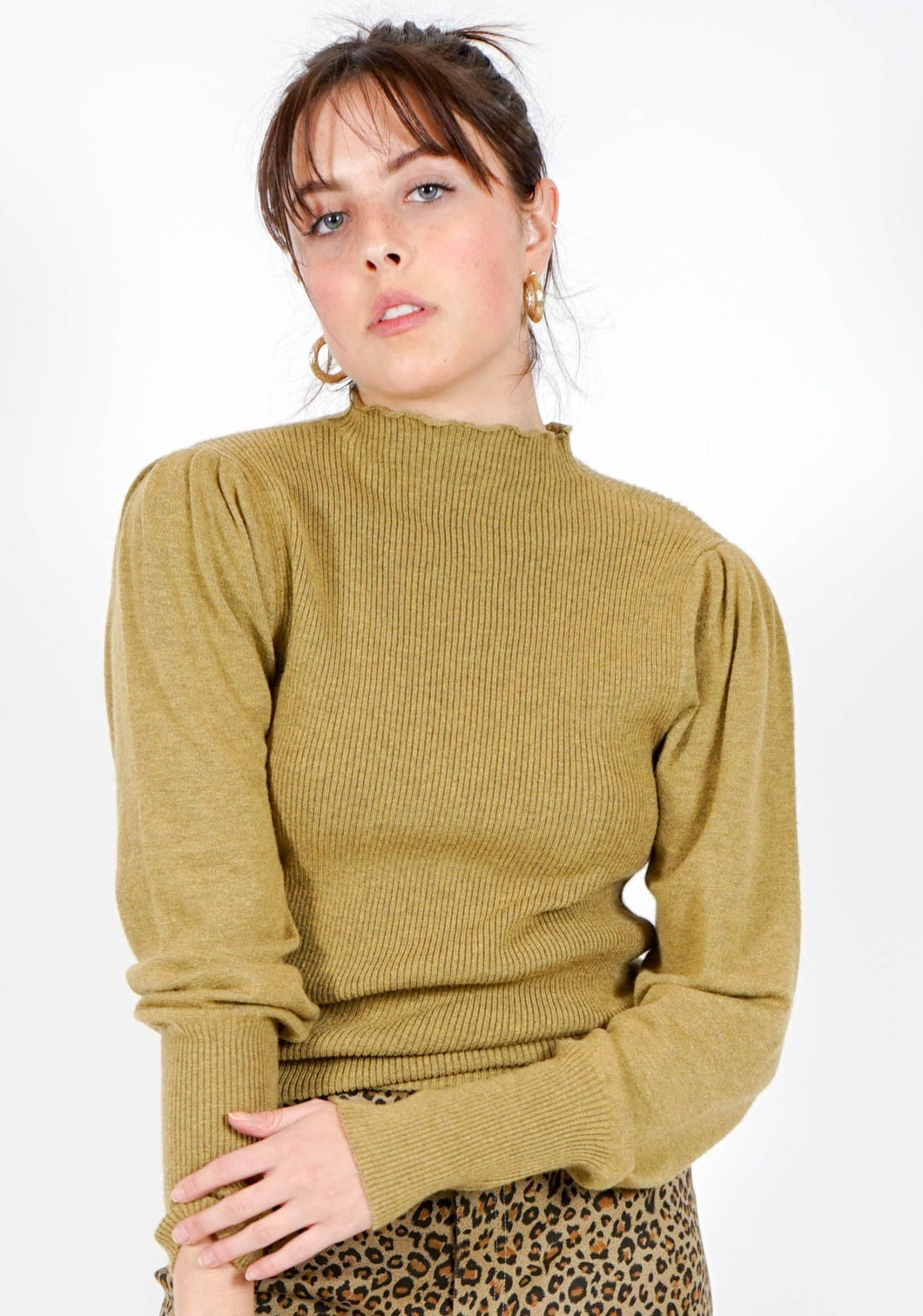 Gianna Ribbed Mock Neck Top in Fern