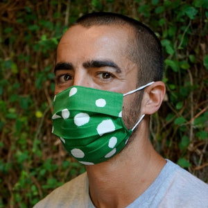Adult Mask in Painted Green Dot