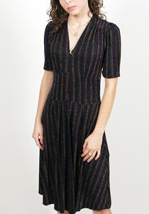Tessa Dress in Rainbow Sparkle Stripe