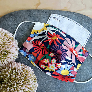 Mask, 10 Filters, & Pouch in Pinwheel Floral